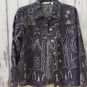 Boho Embroidered Black Jean Jacket